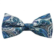 White Bow Tie with Turquoise Cashmere