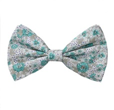White Bow Tie with Turquoise Flowers