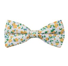 White Bow Tie with Yellow Flowers