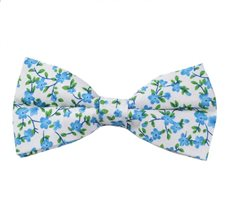 White Bow Tie with Blue Flowers