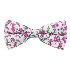 White Bow Tie with Fuchsia Flowers