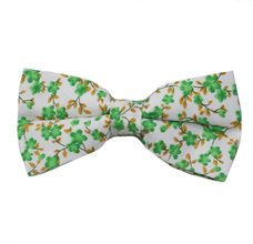 White Bow Tie with Green Flowers