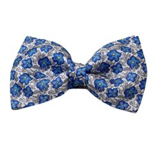 White Silk Bow Tie with Grey and Blue Flowers
