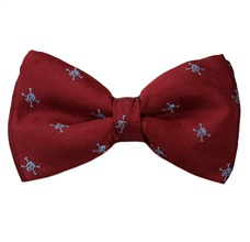 Bordeaux Bow Tie with Skulls