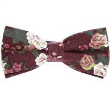 Bordeaux Bow Tie with Flowers