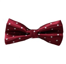 Bordeaux Bow Tie with White Dots