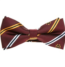 Bordeaux Bow Tie with Golden Stripes