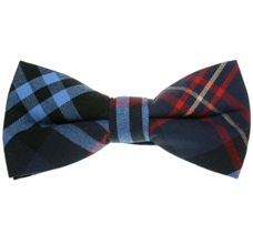 Deep Blue and Red Tartan Bow Tie