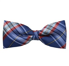 Deep Blue and Garnet Tartan Bow Tie