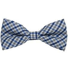 Black,White and Blue Tartan Bow Tie