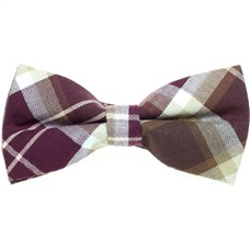 Beige, White and Bordeaux Tartan Bow Tie