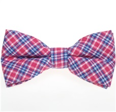 Fuchsia and Royal Blue Tartan Bow Tie