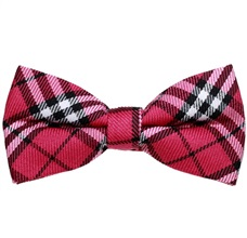 Fuchsia and Black Tartan Bow Tie