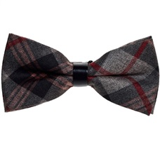 Grey and Brown Tartan Bow Tie