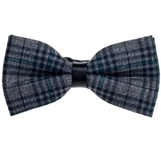 Grey and Black Tartan Bow Tie