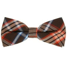 Brown and Orange Tartan Bow Tie