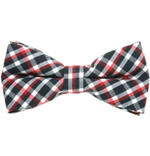 Black, White and Red Tartan Bow Tie