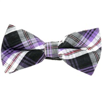 Black and Purple Tartan Bow Tie