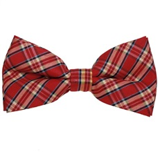Red,Ocher and Blue Tartan Bow Tie