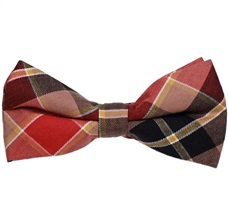 Terracotta and Brown Tartan Bow Tie