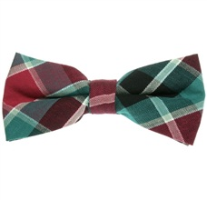 Bordeaux and Green Tartan Bow Tie