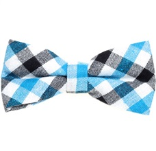 Turquoise and White Vichy Tartan Bow Tie