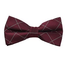 Burgundy Checks Bow Tie