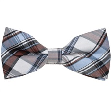 Sky Blue and Brown Tartan Bow Tie