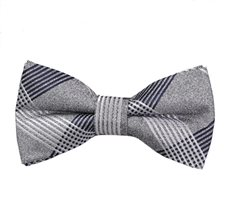 Grey and Blue Checks Bow Tie