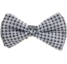 Black and Grey Checked Bow Tie