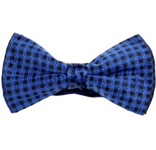 Black and Royal Blue Checked Bow Tie