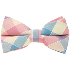 Salmon, Beige and Sea Green Tartan Bow Tie