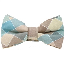 Beige and Sea Green Tartan Bow Tie