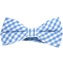 Sky Blue Vichy Checks Bow Tie
