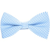 Sky Blue and White Vichy Checks Bow Tie
