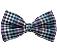 Black, White and Blue Vichy Checks Bow Tie