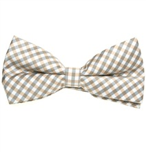 White and Beige Vichy Checks Bow Tie