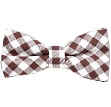 White and Brown Vichy Checks Bow Tie