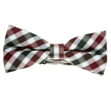 Black,White and Bordeaux Vichy Checks Bow Tie