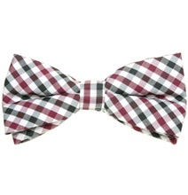 Bordeaux and Black Vichy Checks Bow Tie