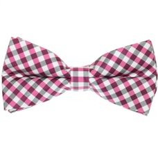 Fuchsia, Black and White Vichy Checks Bow Tie