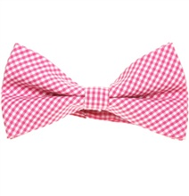 Fuchsia and White Vichy Checks Bow Tie