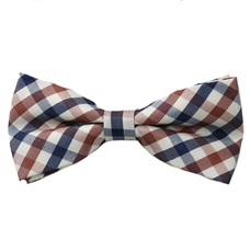 Brown and Blue Vichy Checks Bow Tie