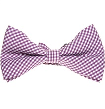 Purple and White Vichy Checks Bow Tie