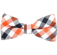 Orange and Black Tartan Vichy Bow Tie