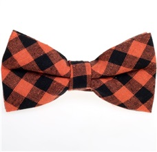 Black and Orange Vichy Checks Bow Tie