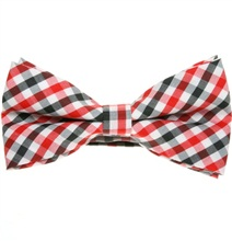 Red and Black Vichy Checks Bow Tie