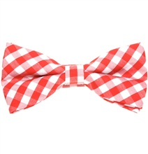 Red Vichy Checks Bow Tie