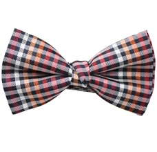 Red, Black and White Vichy Checks Bow Tie