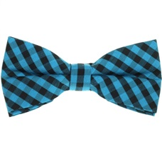 Black and Turquoise Vichy Checks Bow Tie
